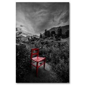 Αφίσα (κόκκινος, καρέκλα, μαύρο, λευκό, άσπρο)